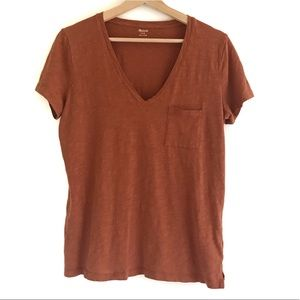 Madewell Whisper V-Neck Tee Rust Color | Size M